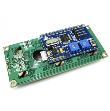 Serial Enabled 16x2 LCD Black on Green 5V