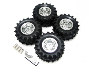 RC Car Chassis Wheel with Metal Coupling Shaft - 4pcs