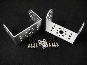 Aluminum Short U Servo Bracket Two Pack - Silver