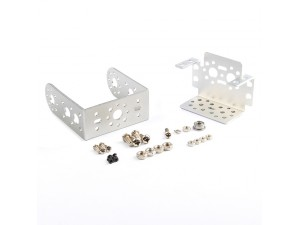 "Pan and Tilt with Long ""U"" Servo Bracket Kit - Silver"