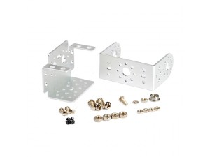 "Pan and Tilt with Short ""U"" Servo Bracket Kit-Silver"