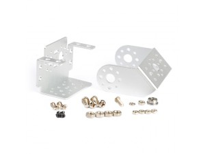 "Pan and Tilt with Offset ""U"" Servo Bracket Kit-Silver"