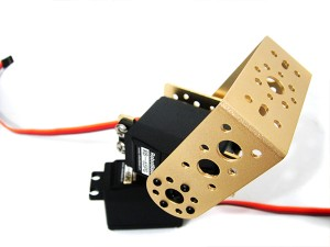 "RB-65PG Pan and Tilt Kit with Long ""U"" Servo Bracket(gold)"